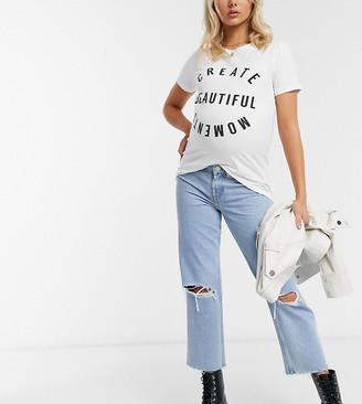 Mama Licious Mamalicious Maternity t-shirt with create beautiful moments slogan in white