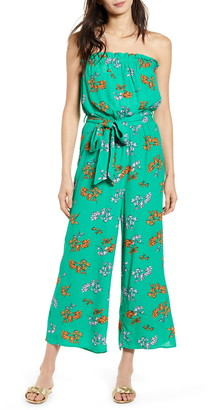 Lost + Wander Get Lucky Floral Strapless Jumpsuit