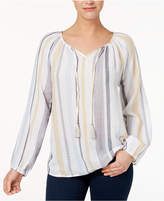 Style&Co. Style & Co Cotton Striped Peasant Top, Created for Macy's
