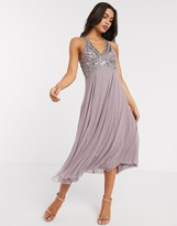 Asos Design DESIGN linear embellished bodice midi dress with tulle skirt in dusty purple