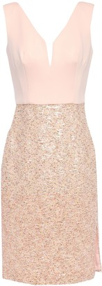 Black Halo Eve By Laurel Berman Paneled Sequined Tulle And Ponte Dress