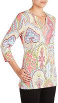 Allison Daley Embellished Notch V-Neck Scroll Print Knit Top