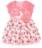 Little Lass Little Girl's Two-Piece Floral Dress and Lace Bolero Set