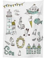 vipsung Nautical Decor Tablecloth Marine Elements with Fish Lighthouse Anchor Vessel Swimsuit Gulls Lifebuoy Print Dining Room Kitchen Rectangular Table Cover