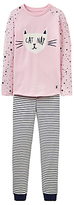 Joules Little Joule Children's Cat Nap Pyjamas, Rose Pink