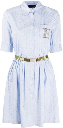 Ermanno Ermanno Star Embroidered Striped Shirt Dress