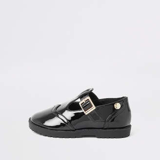 River Island Mini girls black patent shoes