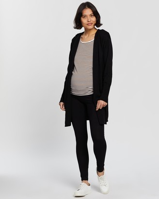 Angel Maternity Women's Black Leggings - Knitted Merino Wool Hoodie Cardigan & Leggings Outfit - Size One Size, S at The Iconic