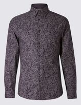 Marks and Spencer Pure Cotton Slim Fit Long Sleeve Shirt