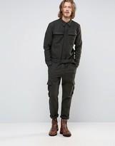 Asos Smart Heritage Boiler Suit In Khaki Herringbone