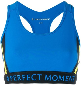Perfect Moment Striped Racerback Sports Bra