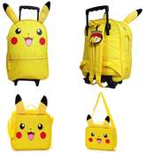 "Generic Pokemon Pikachu Deluxe 16"" Rolling Backpack With Lunchbox Bundle"