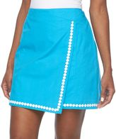 Caribbean Joe Women's Embroidered Faux-Wrap Skort