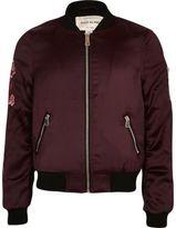 River Island Girls dark Red floral appliqué bomber jacket