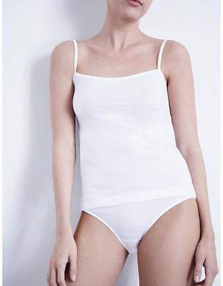 Hanro Women's White Ultralight Cotton-Jersey Mini Briefs, Size: L