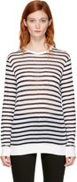 Alexander Wang Navy & Ivory Long Sleeve Striped Crewneck T-Shirt
