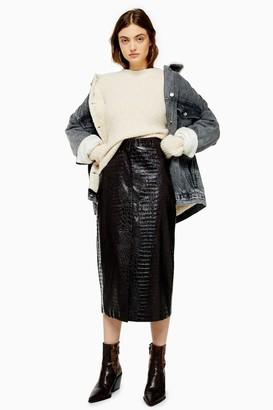 Topshop Womens Burgundy Faux Leather Vinyl Crocodile Print Midi Skirt - Burgundy