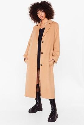 Nasty Gal Womens I Wool Be Waitin' Faux Wool Longline Coat - Camel