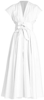 Alaia Bow-Waist Popeline Midi Dress
