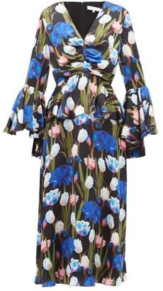 Borgo de Nor Serefina Hammered-silk Midi Dress - Black Multi