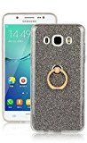 Moonmini Samsung Galaxy J7 (2016) J710 Case Cover Sparkling Slim Fit Soft TPU Back Case Cover with Ring Grip Stand Holder 2 in 1 Hybrid Glitter Bling Bling TPU phone Case Cover (Black)