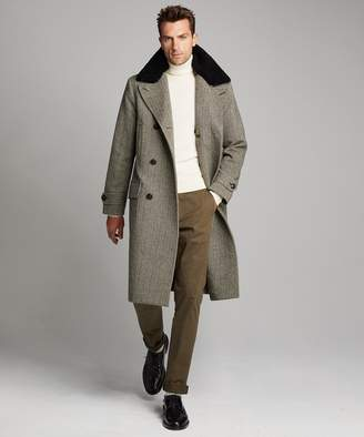 Todd Snyder Double Breasted Herringbone Topcoat with Fur Collar