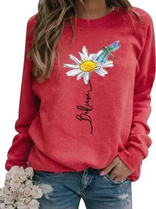Dresswel Women Daisy Sweatshirt Dragonfly Believe Print Crew Neck Long Sleeve Tops Pullover Jumpers Red