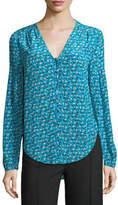 Veronica Beard Roca V-Neck Button-Front Floral-Print Silk Blouse