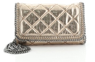 Stella McCartney Falabella Flap Crossbody Bag Quilted Faux Patent Mini