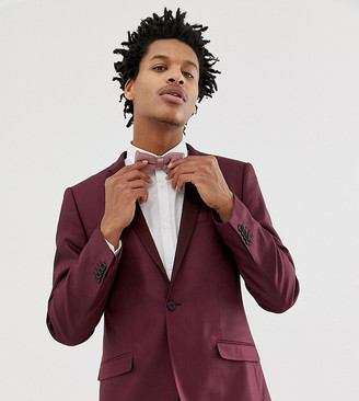 Heart N Dagger skinny fit suit jacket with satin lapel in red