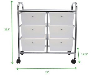 Mind Reader Storage Drawer Rolling Utility Cart