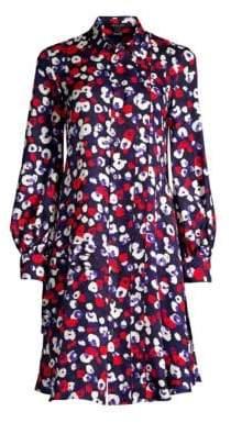 Derek Lam Women's Long-Sleeve Poppy Print Silk Shirt Dress - Navy Multi - Size 42 (6)