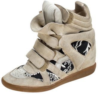 Isabel Marant Beige Printed Canvas and Suede Bekett Wedge Sneakers Size 40