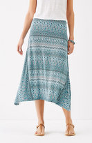 J. Jill Dipped-Hem Printed Knit Skirt