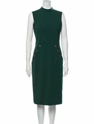 Judith & Charles Mock Neck Midi Length Dress Green