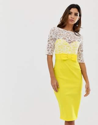 Vesper contrast lace bodycon midi dress-Yellow