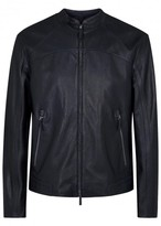 Armani Collezioni Midnight Blue Leather Jacket