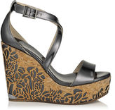 Jimmy Choo PORTIA 120 Anthracite Mirror Leather Metallic Perforated Cork Wedges