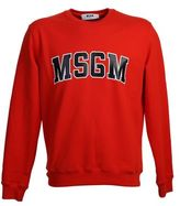 MSGM Printed Coral Red Cotton Sweater