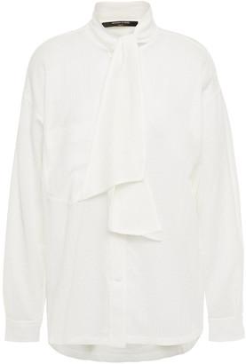 Mother of Pearl Elaine Tie-neck Organic Cotton-gauze Blouse