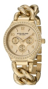 Stuhrling Original Stainless Steel Gold Tone Case on Chain Bracelet, Gold Tone Dial, Swarovski Crystal Studded Bezel, With Gold Tone and White Accents