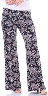 Brooke & Emma Women's Casual Pants ST44 - Black & White Paisley Palazzo Pants - Women