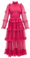 Alexander McQueen Tiered Tulle And Ribbed-knit Dress - Womens - Pink