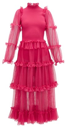 Alexander McQueen Tiered Tulle And Ribbed-knit Dress - Pink