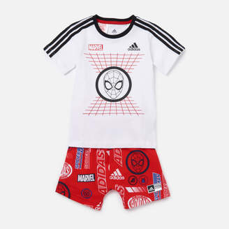 adidas Boys' Infant Dy Spider-Man T-Shirt and Short Set - White/Red - 0-3 months