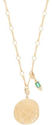 Azlee Goddess Diamond, Emerald & 18kt Gold Necklace - Green Gold