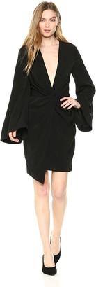 Keepsake Women's No Love V Neck Long Sleeve Twist Front Mini Dress