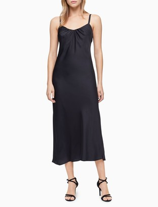 Calvin Klein Solid Sleeveless Long Slip Dress