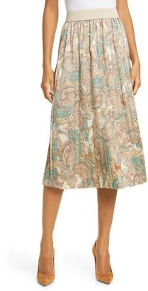 Helene Berman Paisley Print Pleated Skirt