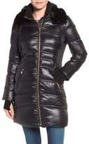 Via Spiga Stand Collar Down Jacket with Removable Faux Fur Trim